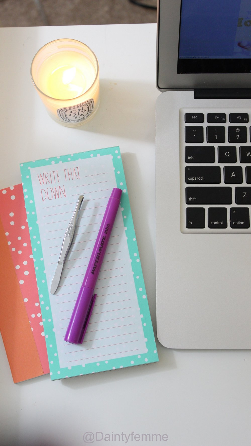 Florals, muted tones, and Dasani make a great workspace….